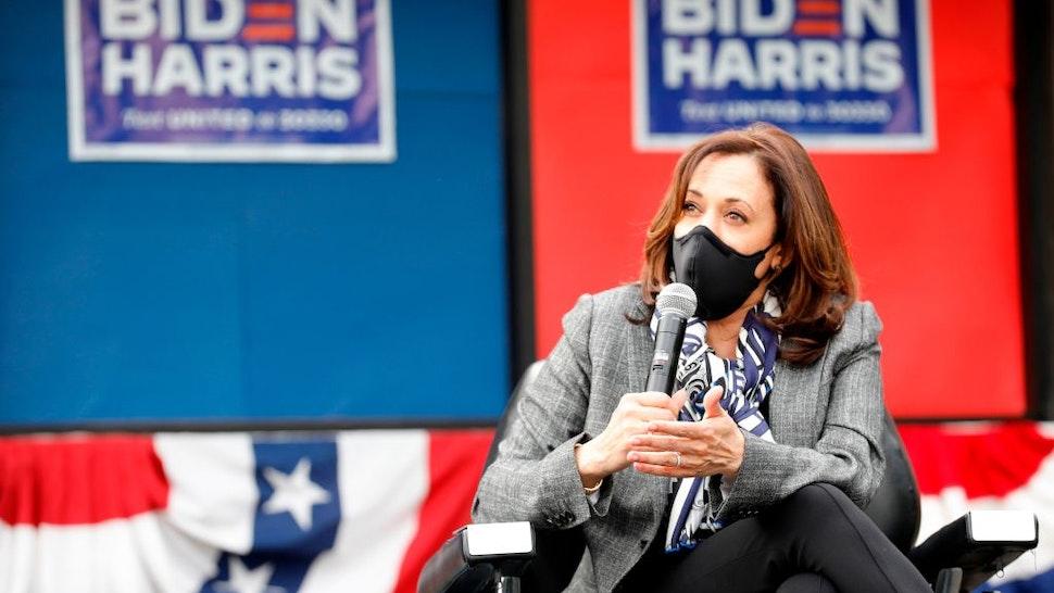 Democratic Vice Presidential Nominee Senator Kamala Harris (D-CA) speaks outside Headliners Barbershop on September 22, 2020 in Detroit, Michigan.