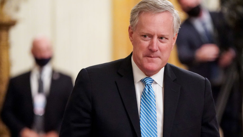 U.S. White House Chief of Staff Mark Meadows departs after President Donald Trump delivered remarks in honor of Bay of Pigs Veterans in the East Room of the White House on September 23, 2020 in Washington, DC.