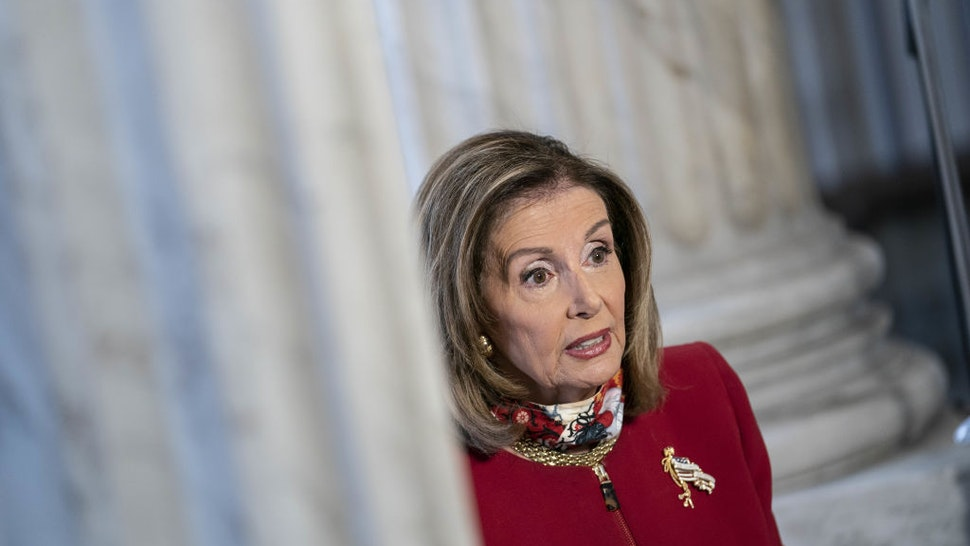 U.S. House Speaker Nancy Pelosi, a Democrat from California, speaks during a television interview at the Russell Senate Office Building on Capitol Hill in Washington, D.C., U.S., on Monday, Sept. 28, 2020.