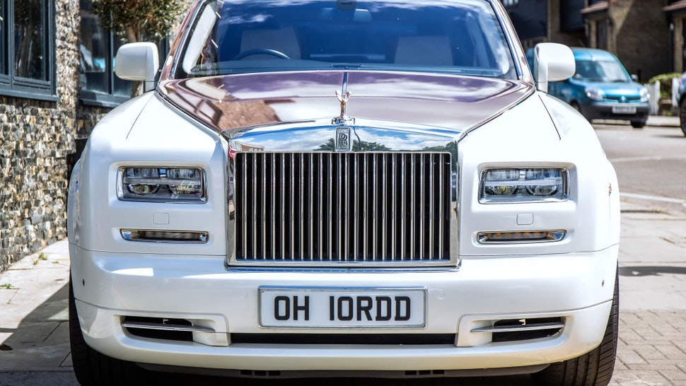 The Rolls Royce Phantom in Chigwell, Essex. This was one of many cars attending the reopening of the popular Melin Restaurant in Chigwell.