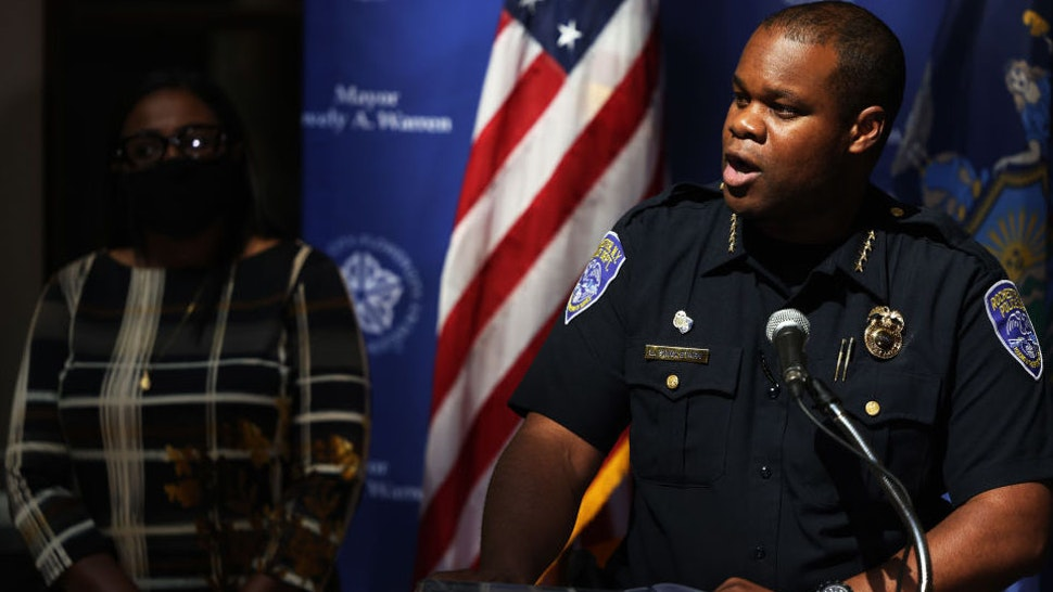 Police Chief La'Ron Singletary addresses members of the media during a press conference related to the ongoing protest in the city on September 06, 2020 in Rochester, New York.