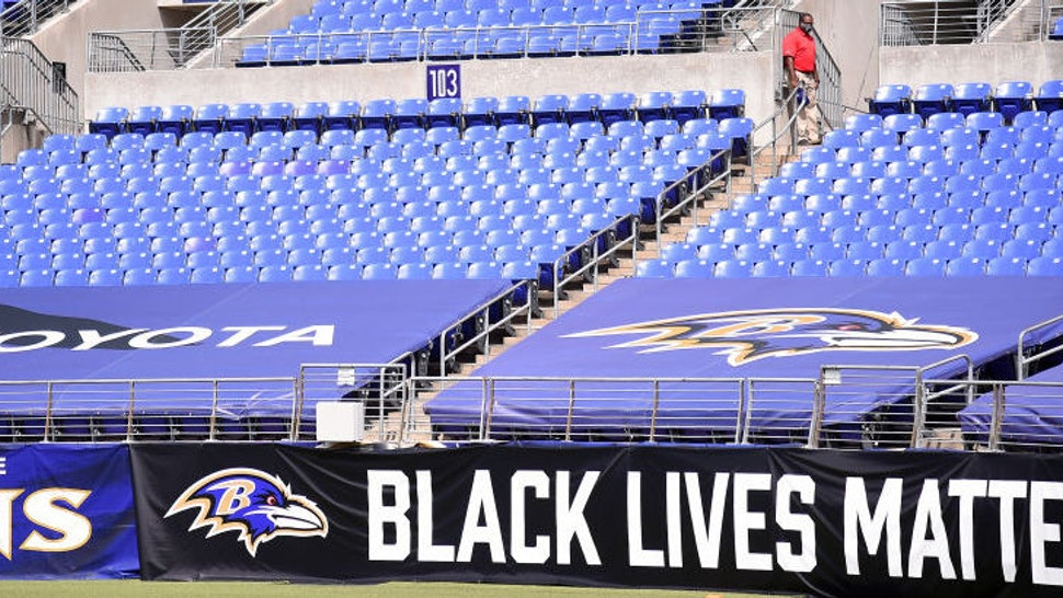 A Black Lives Matter banner is seen during the first half of the game between the Baltimore Ravens and the Cleveland Browns at M&T Bank Stadium on September 13, 2020 in Baltimore, Maryland.