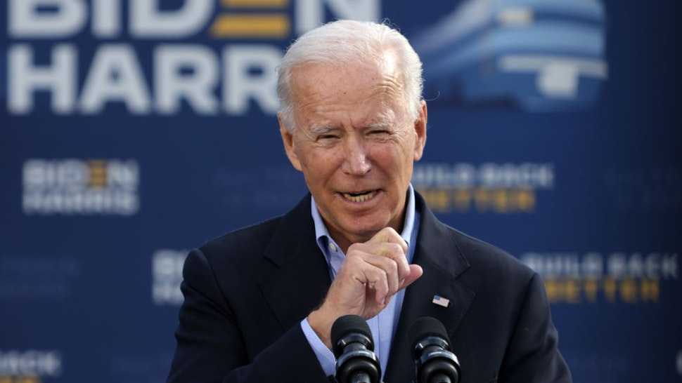 Democratic presidential nominee Joe Biden speaks before the launch of a train campaign tour at Cleveland Amtrak Station September 30, 2020 in Cleveland, Ohio.