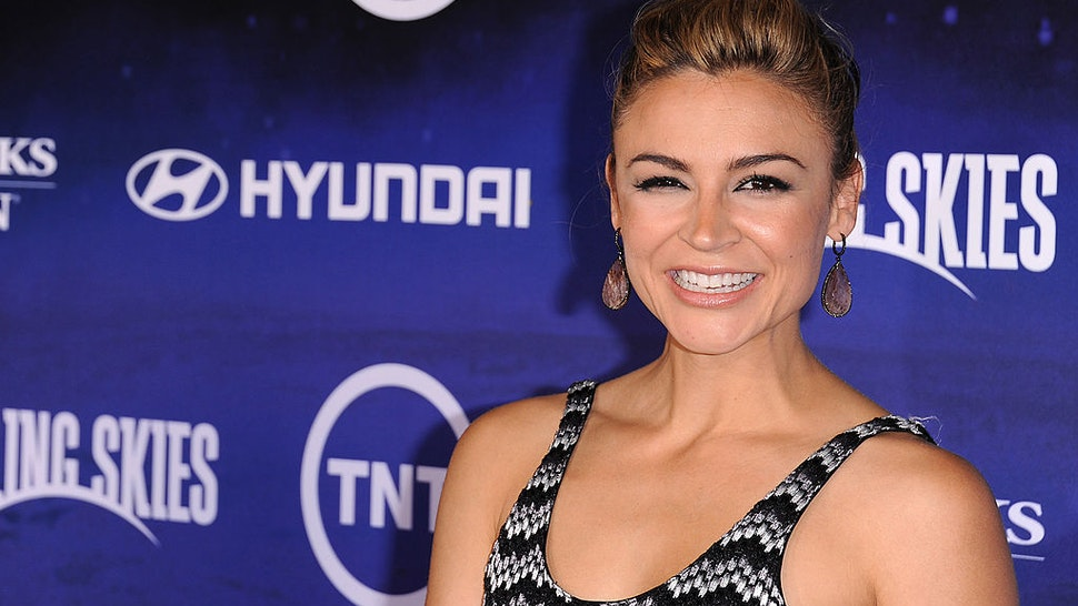 """Samaire Armstrong arrives at the premiere of TNT's """"Falling Skies"""" held at Pacific Design Center on June 13, 2011 in West Hollywood, California."""