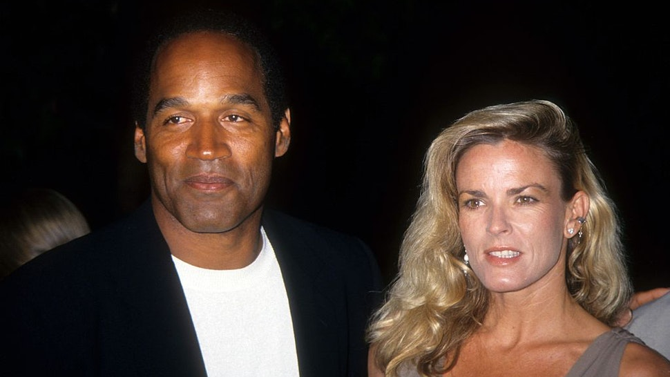 "O.J. Simpson and Nicole Brown Simpson pose at the premiere of the ""Naked Gun 33 1/3: The Final Isult"" in which O.J. starred on March 16, 1994 in Los Angeles, California."