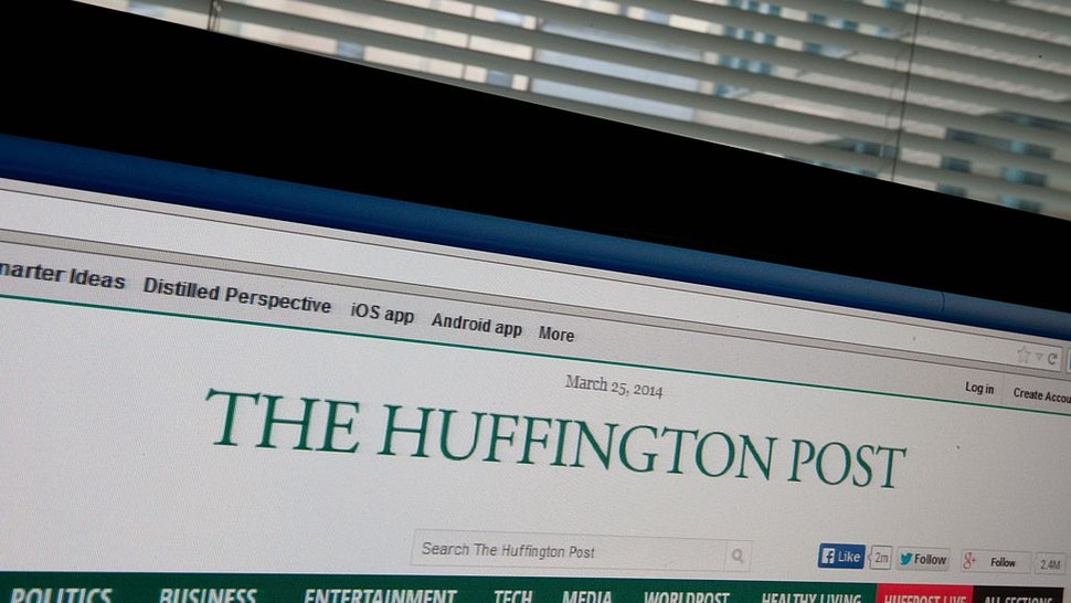 The Huffington Post is seen on a computer screen in Washington on March 25, 2014.