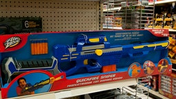 December 20, 2012- QUICKFIRE SNIPER. Children's Toy Store - Toys R Us Selling Toy Style Guns And Fake Police Products (Photo by Michele Eve Sandberg/Corbis via Getty Images)