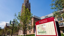 Hyde Park campus, University of Chicago map sign.