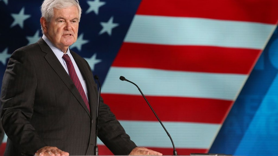 "Newt Gingrich, former US Speaker of the House attends ""Free Iran 2018 - the Alternative"" event organized by exiled Iranian opposition group on June 30, 2018 in Villepinte, north of Paris."