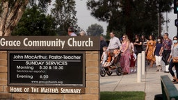 SUN VALLEY, CA - SEPTEMBER 13, 2020 - - Grace Community Church parishioners make their way to Sunday service in Sun Valley on September 13, 2020. The church held a packed morning service today, defying a court order directing them to refrain from holding indoor services due to the COVID-19 pandemic. L.A. County Superior Court Judge Mitchell Beckloff sided with public health officials, who took legal action last month to enforce health orders against Grace Community Church, an evangelical congregation in Sun Valley that has been holding Sunday worship services indoors since July 26. The majority of the parishioners refused to wear a mask.(Genaro Molina / Los Angeles Times via Getty Images)