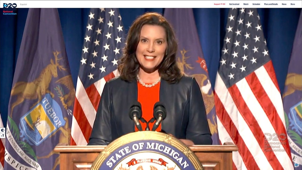 MILWAUKEE, WI - AUGUST 17: In this screenshot from the DNCC's livestream of the 2020 Democratic National Convention, Michigan Gov. Gretchen Whitmer addresses the virtual convention on August 17, 2020. The convention, which was once expected to draw 50,000 people to Milwaukee, Wisconsin, is now taking place virtually due to the coronavirus pandemic. (Photo by Handout/DNCC via Getty Images)