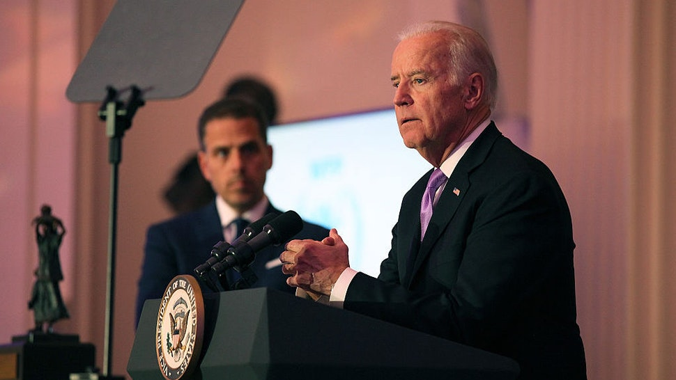 Hunter Biden (L) and U.S. Vice President Joe Biden speak on stage at the World Food Program USA's Annual McGovern-Dole Leadership Award Ceremony at Organization of American States on April 12, 2016 in Washington, DC. (Photo by Teresa Kroeger/Getty Images for World Food Program USA)