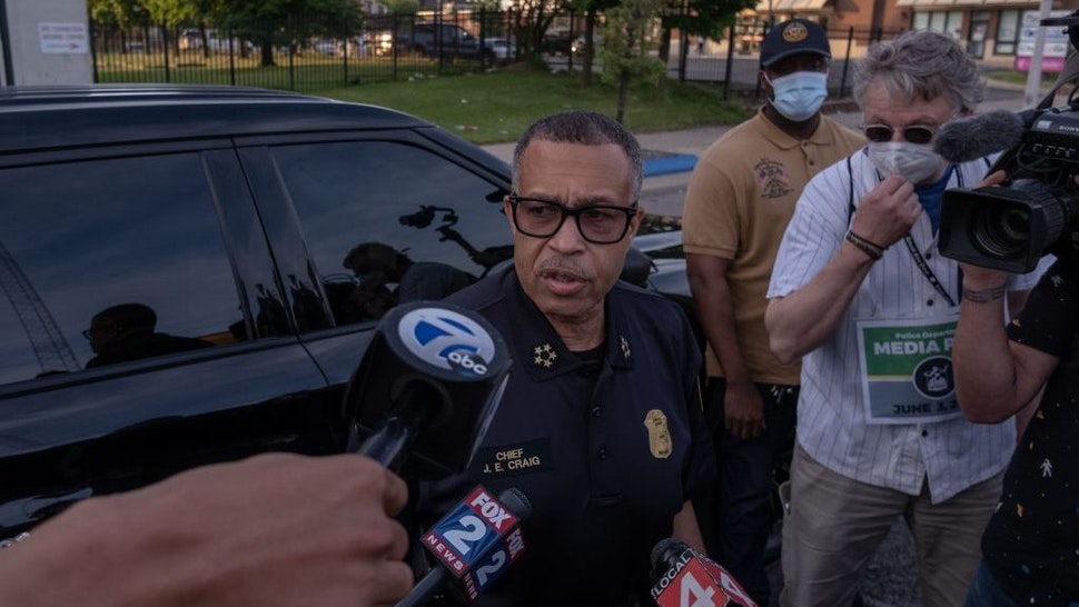 The Chief of Detroit Police James Craig speaks with the press about the protests taking place in Detroit, Michigan, June 3,2020 - The Chief of Detroit Police James Craig later ended the curfew after protesters called for an end to the curfew. (Photo by SETH HERALD / AFP) (Photo by SETH HERALD/AFP via Getty Images)