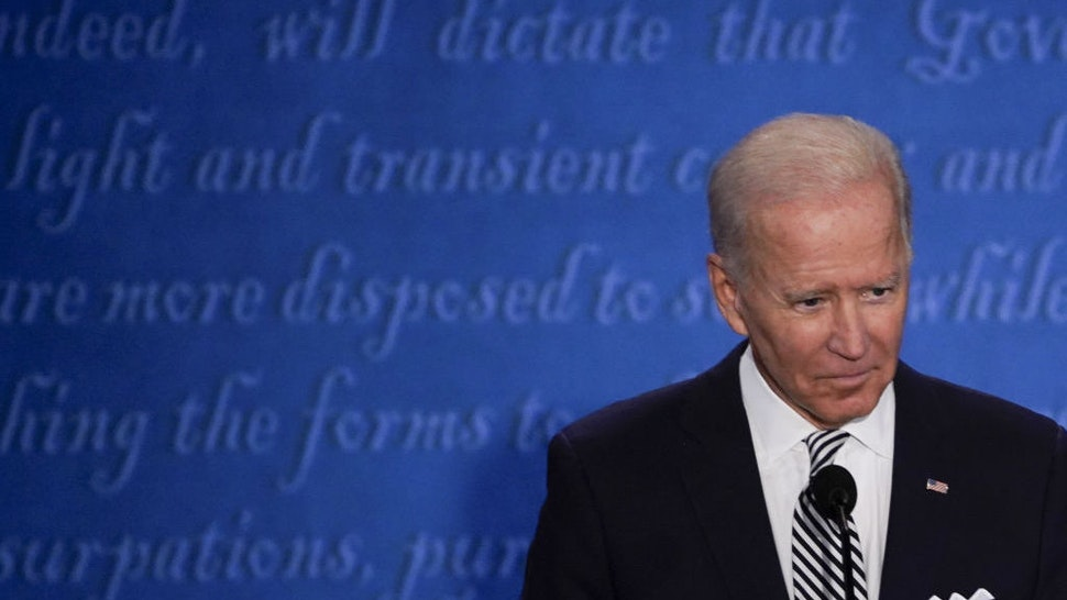 Joe Biden, 2020 Democratic presidential nominee, pauses during the first U.S. presidential debate hosted by Case Western Reserve University and the Cleveland Clinic in Cleveland, Ohio, U.S., on Tuesday, Sept. 29, 2020. Trump and Biden kick off their first debate with contentious topics like the Supreme Court and the coronavirus pandemic suddenly joined by yet another potentially explosive question -- whether the president ducked paying his taxes. Photographer: Matthew Hatcher/Bloomberg