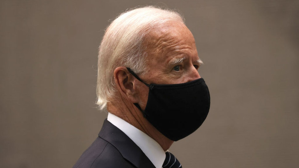 NEW YORK, NEW YORK - SEPTEMBER 11: Democratic Presidential Candidate Joe Biden attends a 9/11 memorial service at the National September 11 Memorial and Museum on September 11, 2020 in New York City. The ceremony to remember those who were killed in the terror attacks 19 years ago will be altered this year in order to adhere to safety precautions around COVID-19 transmission. (Photo by Michael M. Santiago/Getty Images)