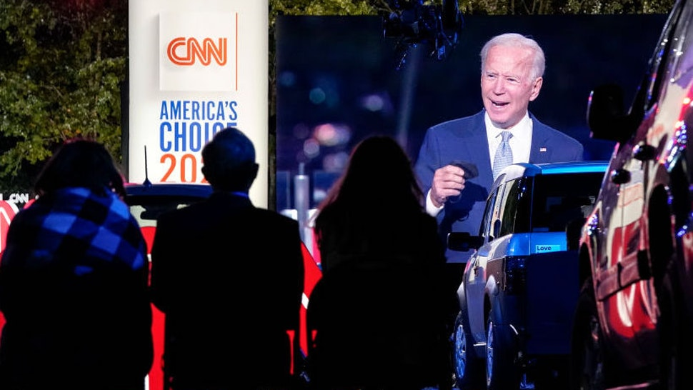 Audience members listen as Democratic presidential nominee and former Vice President Joe Biden participates in a CNN town hall event on September 17, 2020 in Moosic, Pennsylvania. Due to the coronavirus, the event is being held outside with audience members in their cars. Biden grew up nearby in Scranton, Pennsylvania. (Photo by Drew Angerer/Getty Images)