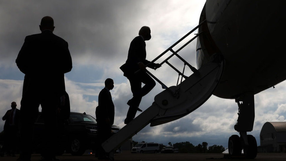 Democratic presidential candidate former Vice President Joe Biden boards a plane at Allegheny County Airport on August 31, 2020 in West Mifflin, Pennsylvania. Biden criticized President Trump's response to protests in Kenosha, Wisconsin and Portland, Oregon earlier today at a campaign event in Pittsburgh, Pennsylvania. (Photo by Alex Wong/Getty Images)