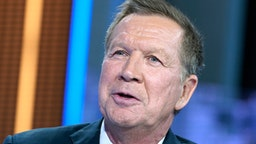 """NEW YORK, NEW YORK - OCTOBER 15: Former Ohio Governor John Kasich visits """"Your World With Neil Cavuto"""" at Fox News Channel Studios on October 15, 2019 in New York City."""