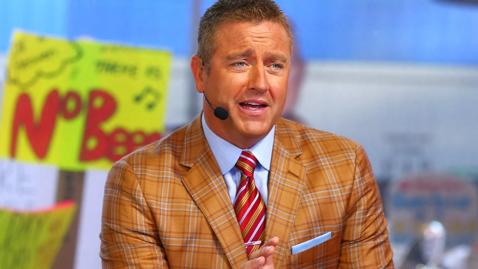 NEW YORK, NY - SEPTEMBER 23: GameDay host Kirk Herbstreit is seen during ESPN's College GameDay show at Times Square on September 23, 2017 in New York City.