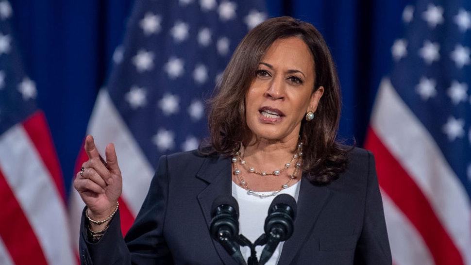 US Democratic vice presidential nominee and Senator from California, Kamala Harris, speaks on the administration of US President Donald Trump failures to contain Covid-19, in Washington, DC, on August 27, 2020