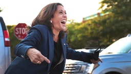 MILWAUKEE, WISCONSIN - SEPTEMBER 07: Democratic Vice Presidential Nominee Sen. Kamala Harris (D-CA) greets supporters gathered outside following a roundtable event with Black business owners on September 7, 2020 in Milwaukee, Wisconsin. Earlier in the day, Harris toured an International Brotherhood of Electrical Workers (IBEW) training facility and met with family members of Jacob Blake.