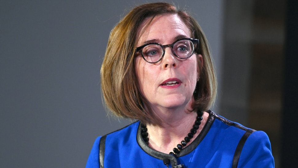 Oregon Governor Kate Brown speaks at the Axios News Shapers event on the U.S. education system on February 22, 2019 in Washington, DC.