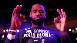 BOSTON, MASSACHUSETTS - JANUARY 20: LeBron James #23 of the Los Angeles Lakers prepares for the game against the Boston Celtics at TD Garden on January 20, 2020 in Boston, Massachusetts.