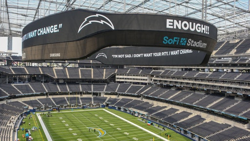 SoFi Stadium upper view of scoreboard before the Los Angeles Chargers boycott scrimmage on August 27, 2020, at SoFi Stadium in Inglewood, CA. (Photo by Jevone Moore/Icon Sportswire via Getty Images)