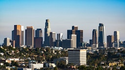 A general view of the Downtown Los Angeles skyline on July 24, 2020 in Los Angeles, California. (Photo by AaronP/Bauer-Griffin/GC Images)