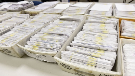 At the Berks County Office of Election Services in the Berks County Services Building in Reading, PA Thursday morning September 3, 2020 where they are processing applications for mail-in ballots. (Photo by Ben Hasty/MediaNews Group/Reading Eagle via Getty Images)