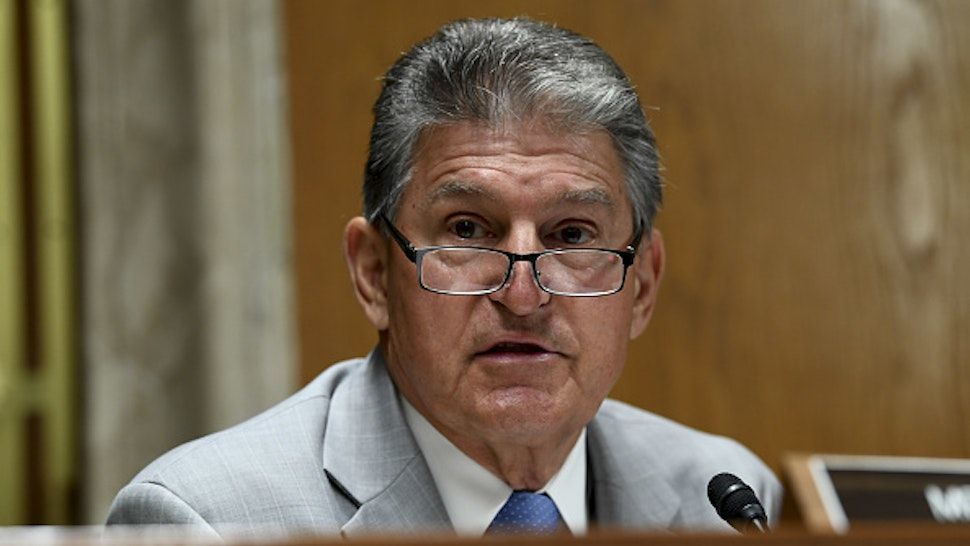 Senator Joe Manchin, a Democrat from West Virginia, speaks during a Senate Appropriations Subcommittee on Financial Services hearing in Washington, D.C., U.S., on Tuesday, June 16, 2020. The hearing will examine the Federal Communications Commission spectrum auctions program for fiscal year 2021.