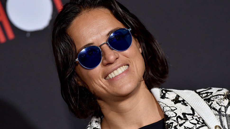 """LOS ANGELES, CALIFORNIA - MARCH 10: Michelle Rodriguez attends the premiere of Sony Pictures' """"Bloodshot"""" on March 10, 2020 in Los Angeles, California."""
