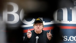 CRESTON, IA - JANUARY 31: Filmmaker and director Michael Moore speaks to an audience at a campaign event for Democratic presidential candidate Sen. Bernie Sanders (I-VT) at Southwestern Community College on January 31, 2020 in Creston, Iowa. Senator Sanders, whom was in Washington to participate in a Senate Impeachment vote, was unable to attend the event.