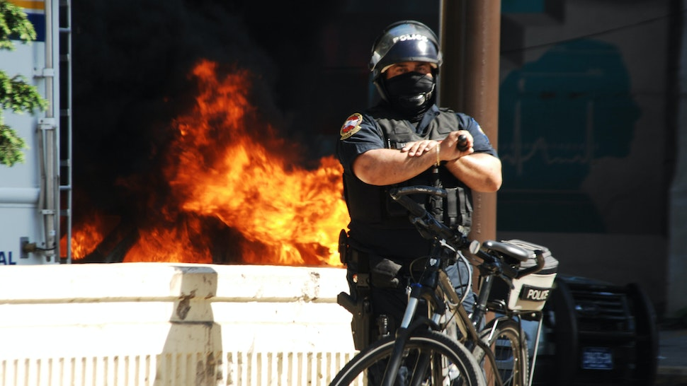 Police and protesters clash in Center City after a day of peaceful demonstrations as more than four-hundred years of systemic oppression and suppressed pain explodes in the City of Brotherly Love in Philadelphia, PA, on May 30, 2020.