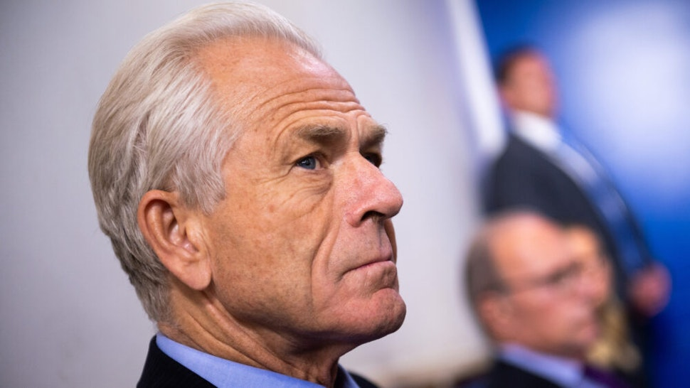 Peter Navarro, director of the National Trade Council, listens as U.S. President Donald Trump, not pictured, speaks during a news conference in the James S. Brady Press Briefing Room at the White House in Washington, D.C., U.S., on Friday, Aug. 14, 2020. Trump announced a collaboration with McKesson Corp. to aid in vaccine distribution.