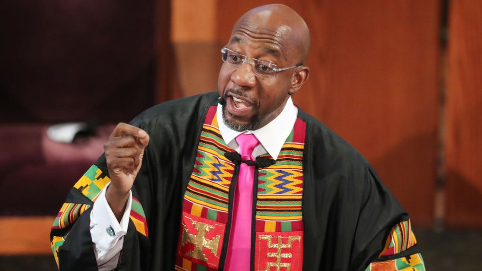 ATLANTA, GEORGIA - JUNE 23: Rev. Raphael G. Warnock delivers the eulogy for Rayshard Brooks at his funeral in Ebenezer Baptist Church on June 23, 2020 in Atlanta. (Photo by Curtis Compton-Pool/Getty Images)