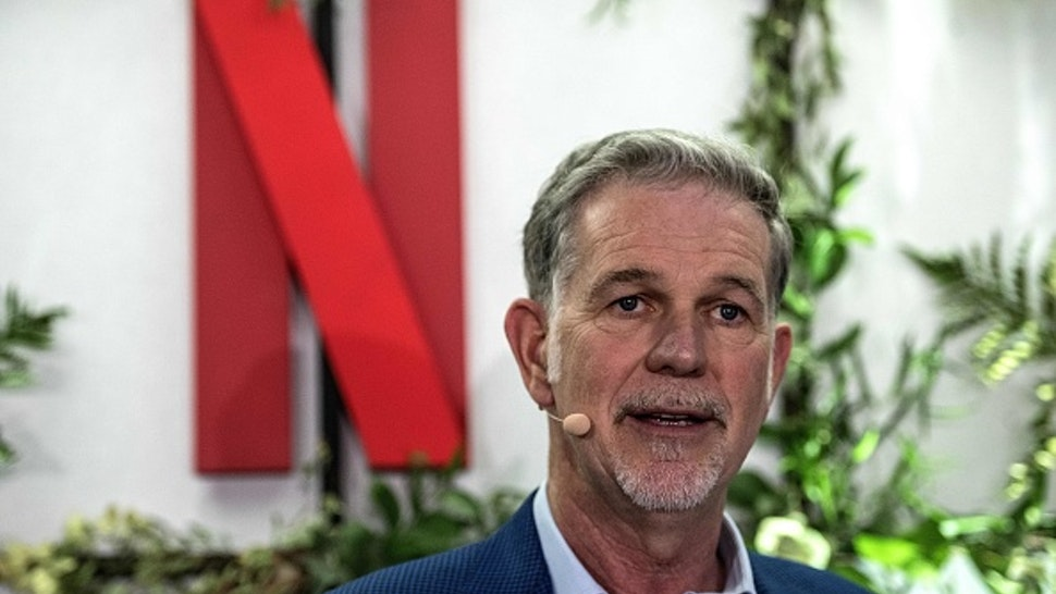 Co-founder and director of Netflix Reed Hastings delivers a speech as he inaugurates the new offices of Netflix France, in Paris on January 17, 2020. - Hastings announced some 20 French projects by Netflix on January 17, 2020.