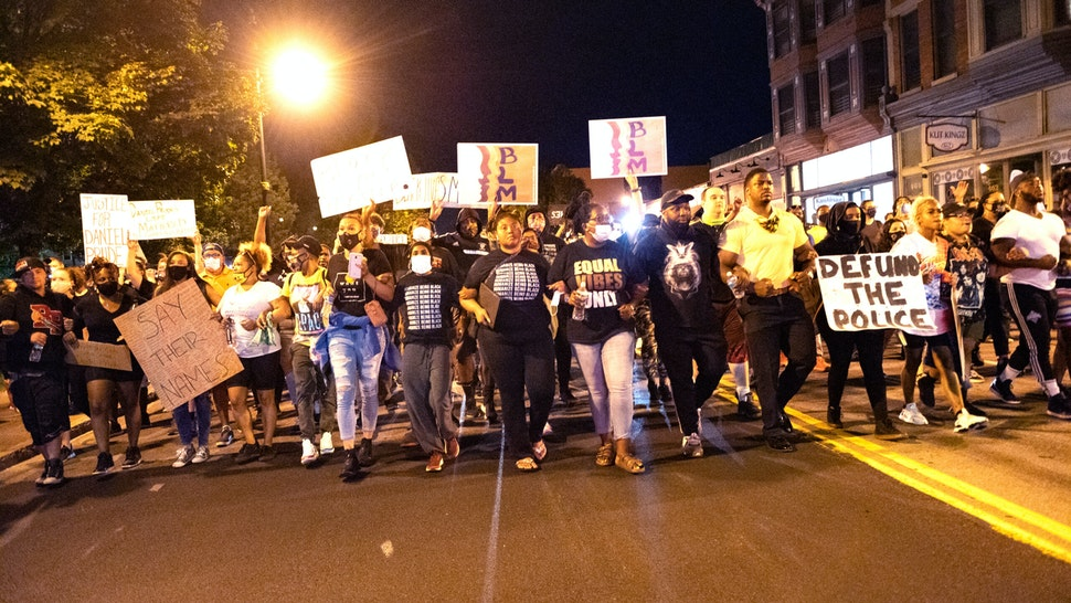 Activists in Rochester, New York, US, on September 3, 2020 protest after the death of Daniel Prude who died earlier this year as new information comes out about his death at the hands of police.