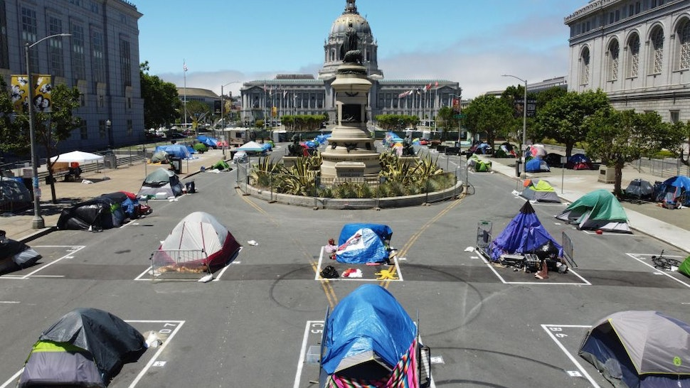 SAN FRANCISCO, CALIFORNIA - MAY 28: Aerial view of painted squares as temporary sanctioned tent encampment for the homeless across from the City Hall amid the coronavirus epidemic on May 28, 2020 in San Francisco, California.