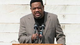 """WASHINGTON, DC - AUGUST 28: Bishop Talbert Swan, III speaks during the March on Washington at the Lincoln Memorial August 28, 2020 in Washington, DC. Today marks the 57th anniversary of Rev. Martin Luther King Jr.'s """"I Have A Dream"""" speech at the same location."""