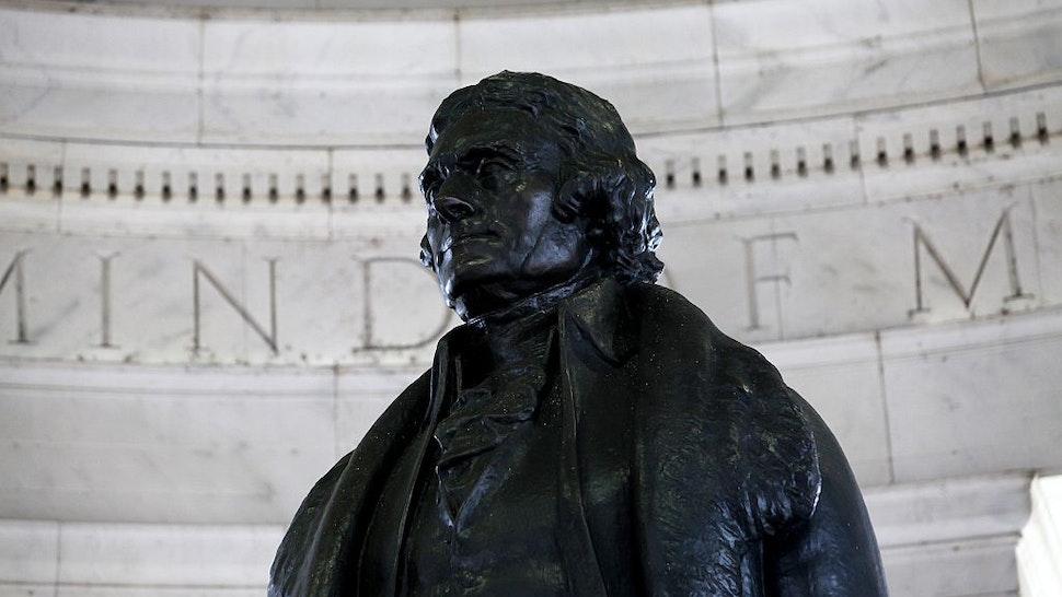 WASHINGTON - APRIL 10: Rudulph Evans' Thomas Jefferson statue sits inside the rotunda of the Thomas Jefferson Memorial on April 10, 2015 in Washington, D.C. (Photo By Raymond Boyd/Getty Images)