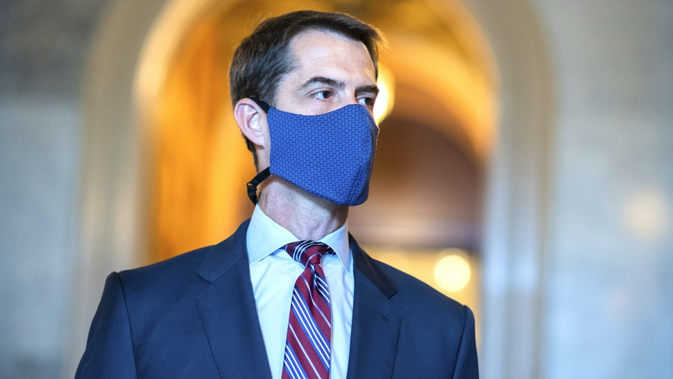 UNITED STATES - SEPTEMBER 10: Sen. Tom Cotton, R-Ark., is seen during a procedural Senate vote on a coronavirus relief bill in the Capitol on Thursday, September 10, 2020.