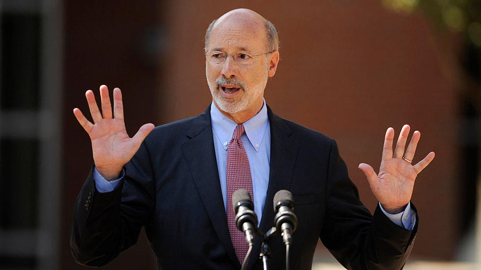 Gov. Tom Wolf speaks in front of Bellefonte Area High School on July 13, 2015 in Bellefonte, Pa. Gov. Wolf visited the school to talk about the Pennsylvania budget. (Nabil K. Mark/Centre Daily Times/Tribune News Service via Getty Images)