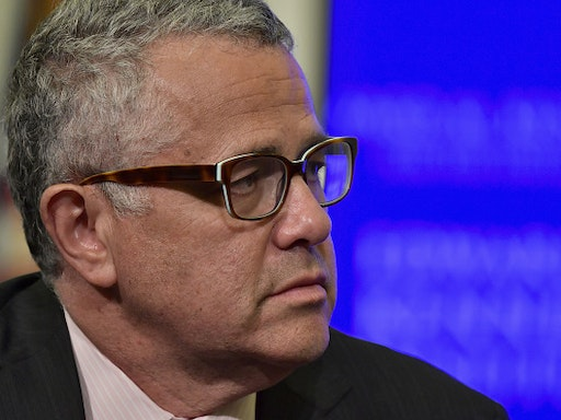 BOSTON, MA - MAY 30: Former United States Attorney General Eric Holder is interviewed by Jeffrey Toobin for a discussion on gerrymandering and its impact on the American politcal system at the Edward M. Kennedy Institute for the United States Senate on May 30, 2018 in Boston, Massachusetts. Holder is a partner at Covington and serves as the Chairman of the National Democratic Redistricting Committee.