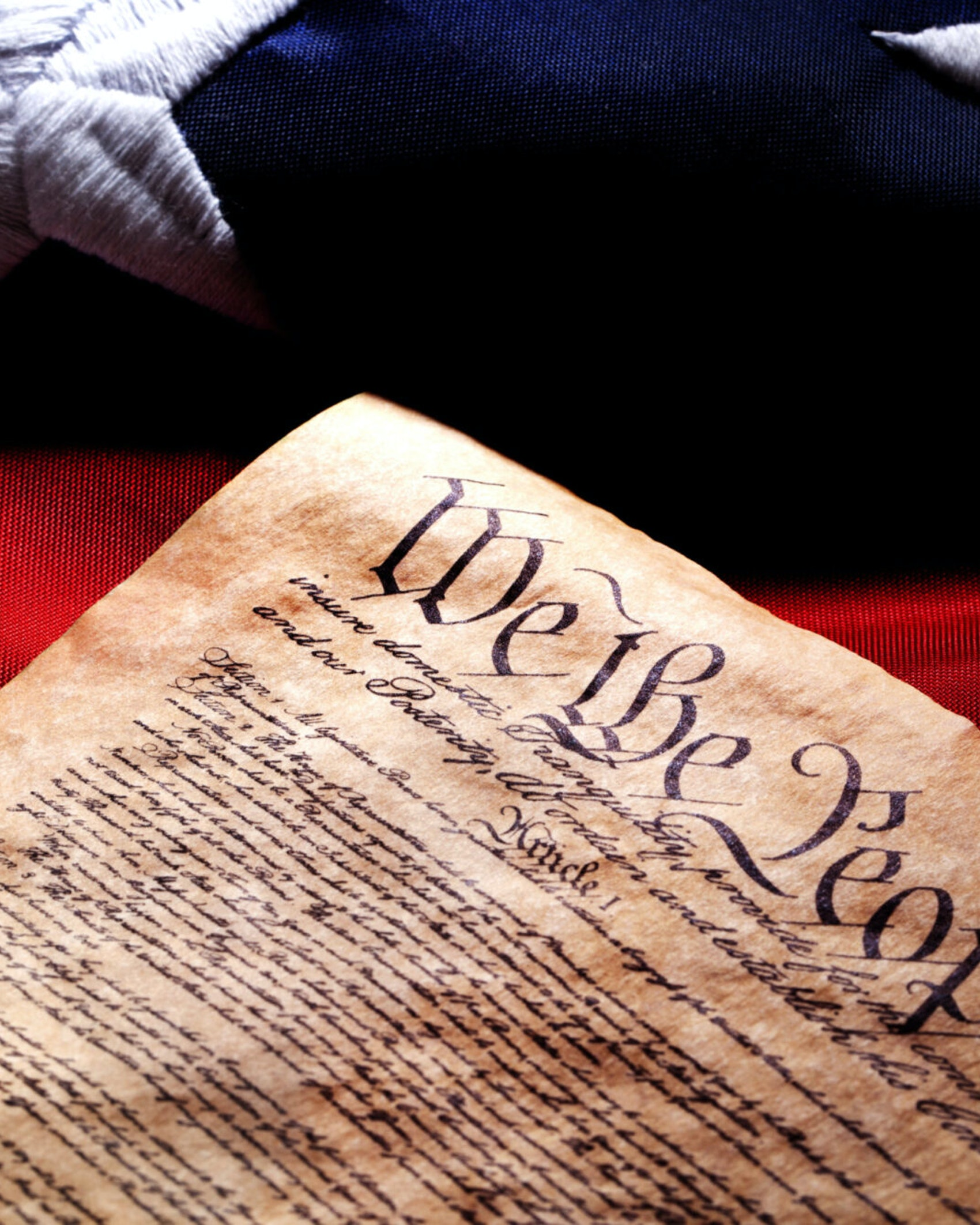 US Constitution and Flag