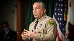LOS ANGELES, CA - AUGUST 12: Sheriff Alex Villanueva speaks at a news conference to give an update on the fatal shooting by a deputy of Andres Guardado on June 18 near Gardena. in Hall of Justice on Wednesday, Aug. 12, 2020 in Los Angeles, CA.