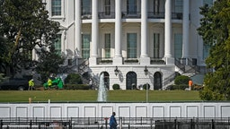 WASHINGTON, DC - September 08: A view of the south lawn of the White House in the wake of the RNC celebration held there, in Washington, DC on September 08.