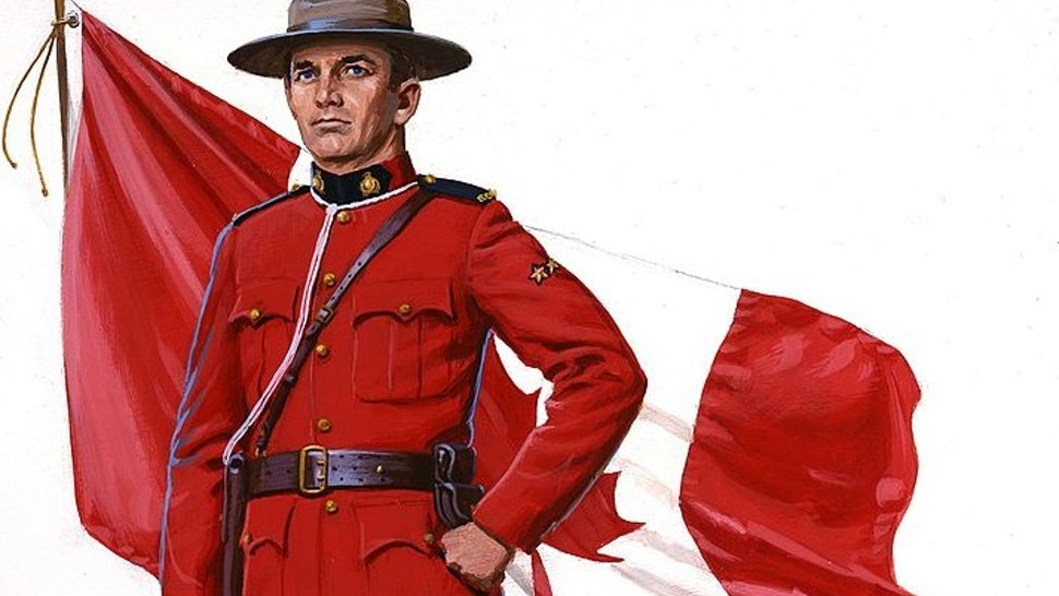 CANADA - 1960: A painting of a Canadian Mounted Policeman aka Mountie and a Canadian Flag in 1960 in Canada. (Illustration by