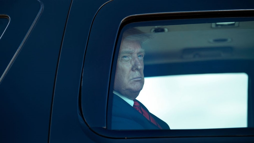US President Donald Trump arrives in a motorcade before boarding Air Force One at Joint Base Andrews in Maryland on September 12, 2020. - Trump travels to Nevada and Arizona for campaign events. (Photo by Brendan Smialowski / AFP) (Photo by