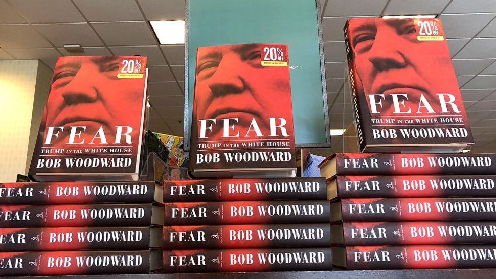 """CORTE MADERA, CA - SEPTEMBER 11: The newly released book """"Fear"""" by Bob Woodward is displayed at a Barnes and Noble bookstore on September 11, 2018 in Corte Madera, California. The new book """"Fear"""" by Bob Woodward about the Trump adminstration hit store shelves today. (Photo by"""